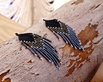 Metallic charcoal earrings