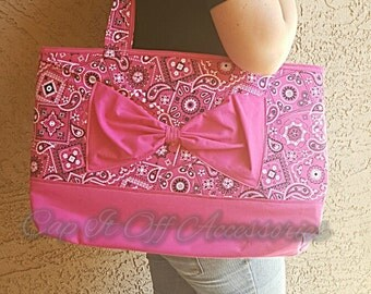 Pink bow tote bag - pink - purse - tote bag - handmade - gifts - gifts for her - travel bag - bags - purses - totes
