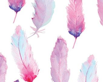 Watercolor Feathers Peel and Stick Wallpaper #112 / Adhesive Vinyl Wallpaper / Pattern WallScape / Removable Wallpaper / Custom Wall Mural