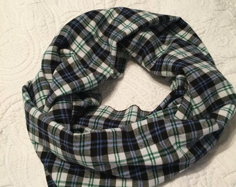 Plaid flannel infinity scarf, black, blue, white and green