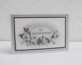 post mortem postcard, vintage In Memoriam card, mourning postcard, 1920's death note for James Garner, momento mori funeral announcement