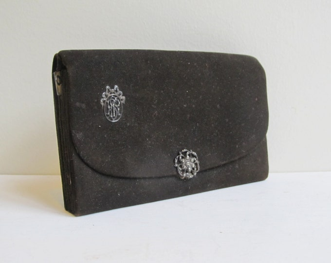 Victorian steampunk wallet - antique suede brown leather purse with fine marcasite monogram detailing and propelling pencil