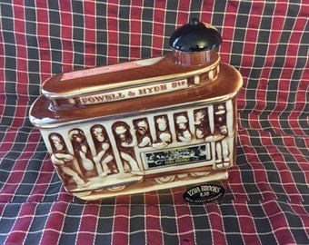 Vintage Ezra Brooks Real Sippin Whiskey Decorative Trolley Decanter 1968