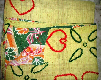 Vintage Embroidered Decorative Kantha Quilt, Exclusive Handmade Cotton Blanket Traditional Gudri, Bedspread, Throw, Free Shipping