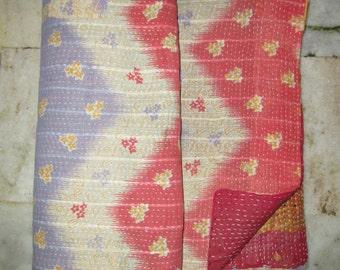 Vintage Original Beautiful Kantha Quilt, Exclusive Handmade Cotton Traditional Indian Gudri, Blanket, Bedspread, Throw, Free Shipping