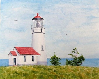 Lighthouse painting original watercolor seascape painting red blue green nautical coastal decor 11x11