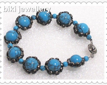 Handcrafted Turquoise bracelet #B7546