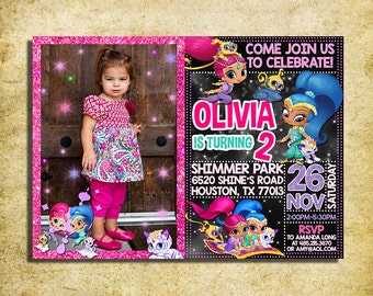 Shimmer And Shine Invitation - Shimmer And Shine Chalkboard Birthday Party Invite With Photo- Printable And Digital File