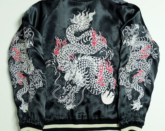 Japanese Vintage Brown Dragon Ryu Tattoo Art Yakuza Black Embroidered Embroidery Reversible Bomber Satin Souvenir Sukajan Jacket SK1346