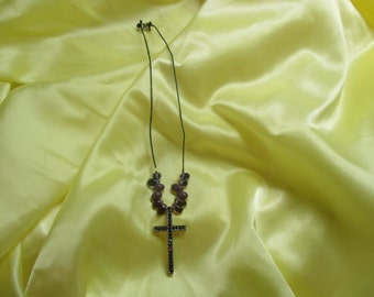 Sparkly Purple Cross Necklace