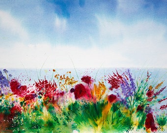Machair Majesty - Original Brusho painting of the wild flowers of The Machair