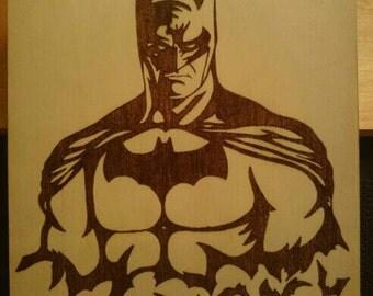Woodburned Batman