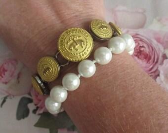 Vintage Brooks Brothers Golden Fleece Button Bracelet Anklet Preppy Jewelry ~ Waterbury Stamp Connecticut ~ Easter Spring Summer