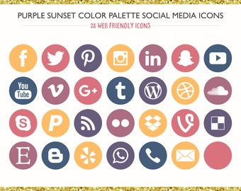 560 Social Media Icons! Purple Sunset Color Palette- PNG files- Digital Download- Blog/Wordpress/Web/Email Friendly