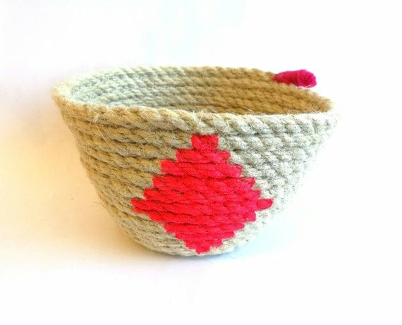 Cotton rope basket hand painted