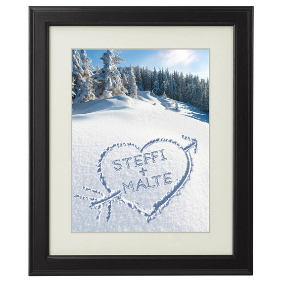 Heart in the Snow  - Personalised with Names – Romantic Framed Picture