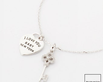925 Silver Heart lock and Key necklace #1400705