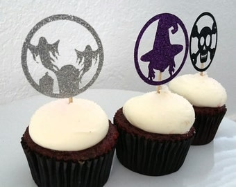 12 Halloween Cupcake Toppers//Halloween Party