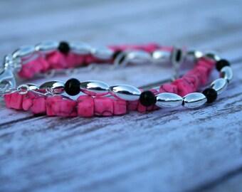 Three Strand Pink Beaded Bracelet, Pink Jewelry, Silver Multistrand Bracelet, Beaded Bracelet, Pink Beaded Jewelry, Black Beaded Bracelet