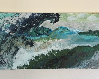 Wave, an original acrylic abstract painting in blue green and teal depicting the angry ocean