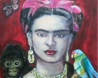 Frida Kahlo 18 - original paintings, mixed media portrait, acrylic painting, mixed media