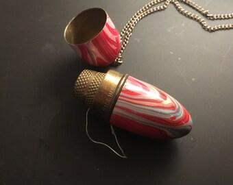 Vintage Marbled Sewing Bullet