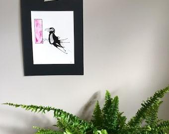 Fran original abstract ink painting // modern art // bird art