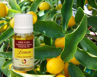 Natural LEMON ESSENTIAL OIL Organic 100% Pure Therapeutic Grade 10 ml 0.33 Oz from Italy
