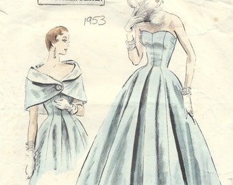 1953 Vintage VOGUE Sewing Pattern B34 DRESS & CAPE (1434) Vogue 778