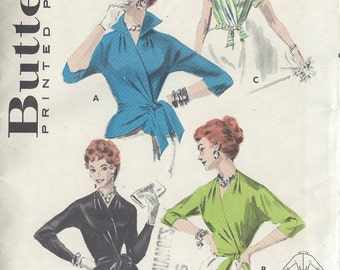 1950s Vintage Sewing Pattern B32 WRAP-OVER BLOUSE (1006) Butterick 7640