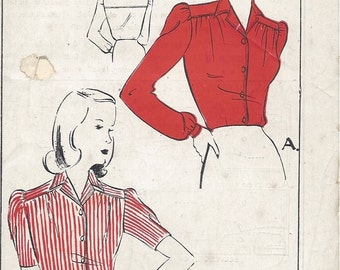 1940s Vintage Sewing Pattern B38 BLOUSE (R793) Economy Design 154