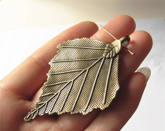 Leaf Charm Pendant Antique Brass Drop Handmade Jewelry Finding 45x70mm