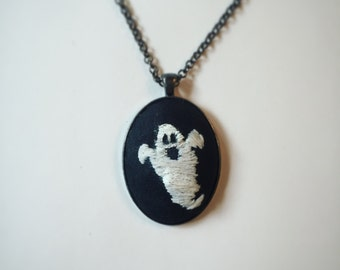 Embroidered Ghost Pendant
