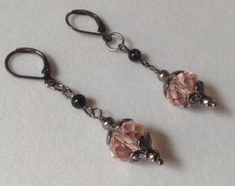 Pink crystal, Black agate, Earrings, Dangle earrings, Boho Chic, Gun Metal, Jewelry, Gift, FREE SHIPPING in USA, E0116