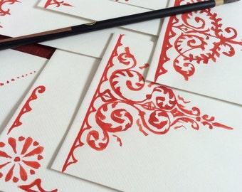 Harpsichord Arabesques, 6 Hand-Painted Envelopes