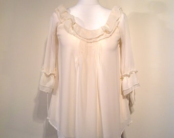 Woman boho retro style top ivory blouse