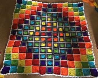Crochet  Rainbow Blanket,Granny Square, large,