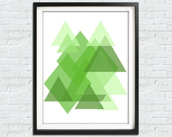 Forest Green Print, Geometric Print, Abstract Art Print, Printable Poster, Green Wall Art, Minimalist Print, Green Poster, Green Home Decor