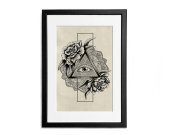 Illuminati All seeing Eye Triangle Peonies Mandala Print illustration A4 Poster Wall Decor