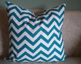 Teal chevron pillow cover, chevron, teal and white, teal chevron, pillow cover, decorative pillow, accent pillow, home decor, pillowcase