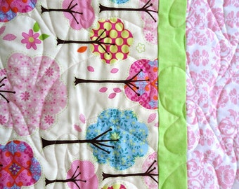 Baby Girl Quilt Trees in pinks, blue and Yellow polka dots