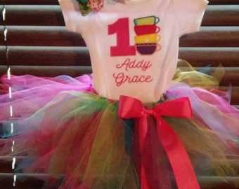 Tutu Birthday Outfit/ Tea Party/ First Birthday Outfit/ Matching bow