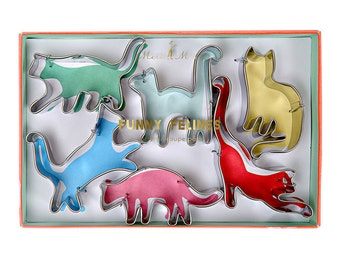 Crazy Cat Cookie Cutters Stainless Steel 6 Pack of Kitty Cats Star Baker Pet Owners Gift British Baking Biscuit Enthusiast Biscuiteers