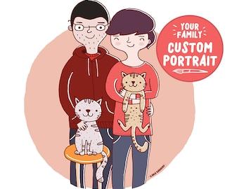 Family portrait - custom illustration, custom portrait.