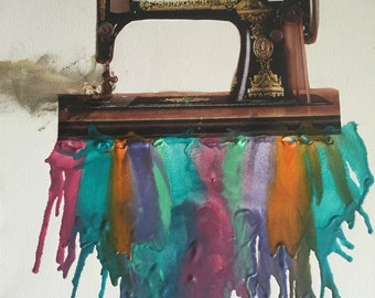 Sewing Machine Melted Crayon Art 16x20 Canvas
