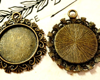 Bronze 20mm necklace setting 5 vintage style pendant jewellery supplies C15