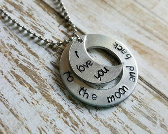 I love you to the moon and back - hand stamped necklace