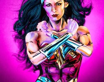 WonderWoman Bodypaint 8.5x11 Print