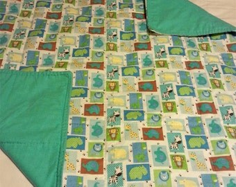 Baby quilt - blue quilt - turquoise quilt - baby boy - baby blanket - baby girl - baby gift - one-of-a-kind quilt - handmade quilt - cotton