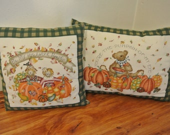 Set of 2 Autumn Pillows, Teddy Bear and Scarecrow Decorative Pillows, Pumpkins and Fall Leaves